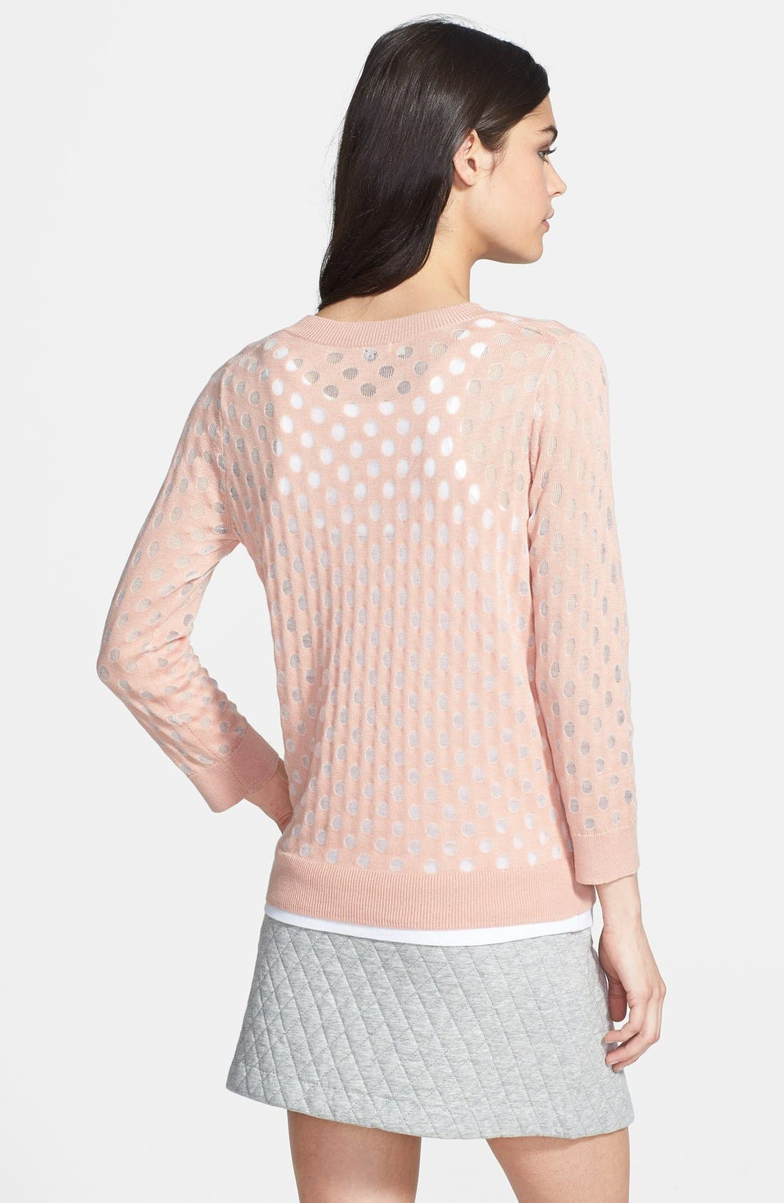 Burnout Dot Sweater,                             Alternate thumbnail 2, color,                             Pink Salmon