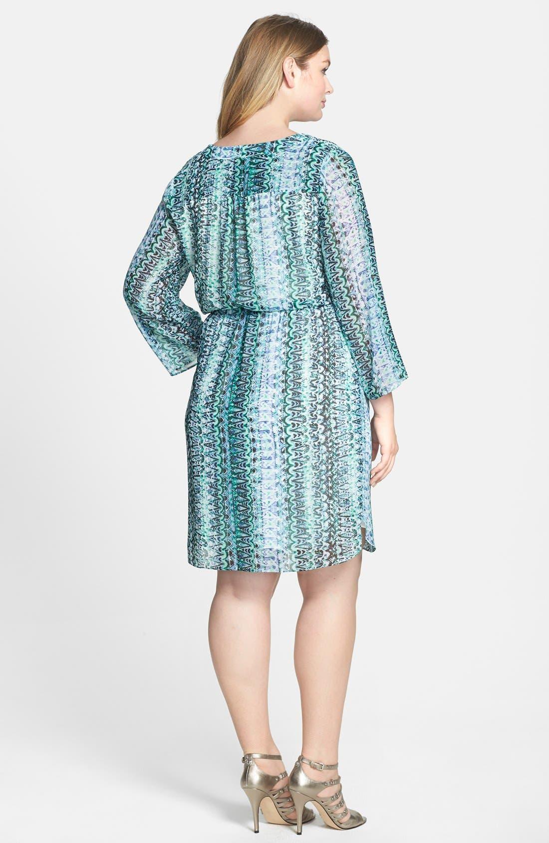 Alternate Image 2  - Two by Vince Camuto 'Folk Geo' Split Neck Dress (Plus Size)
