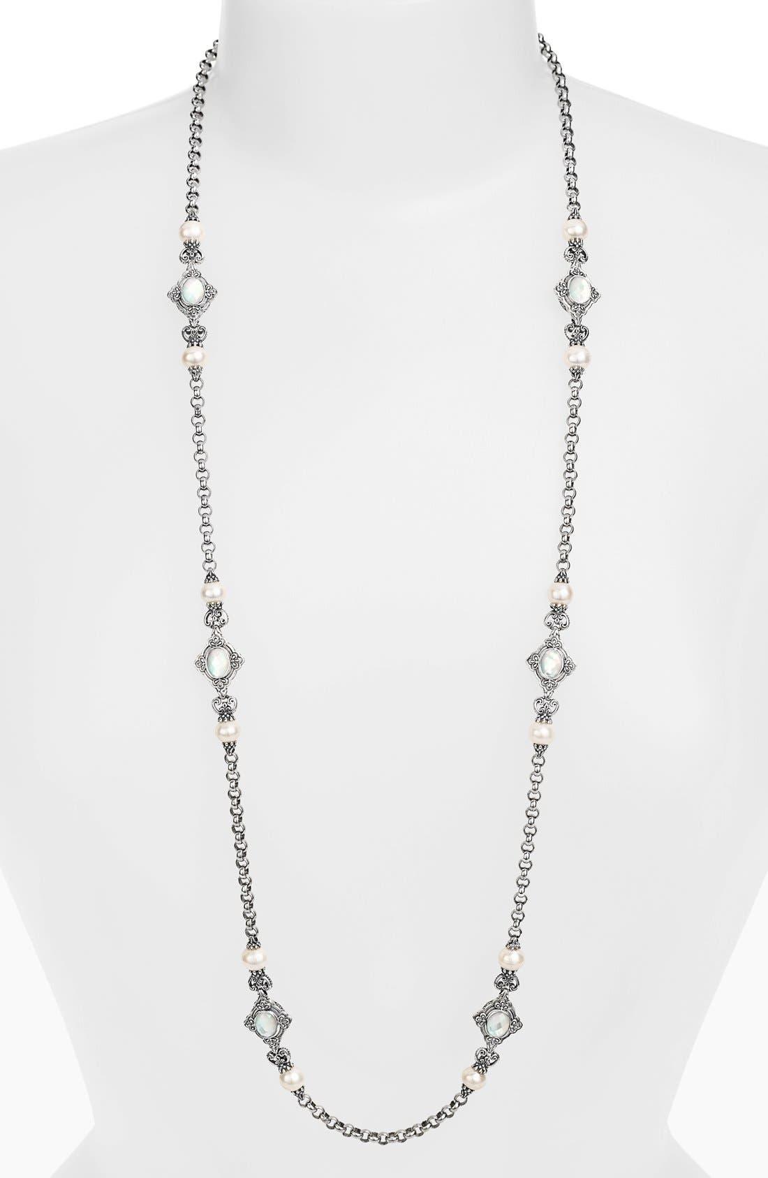 'Selene' Long Station Necklace,                             Main thumbnail 1, color,                             Silver/ Gold