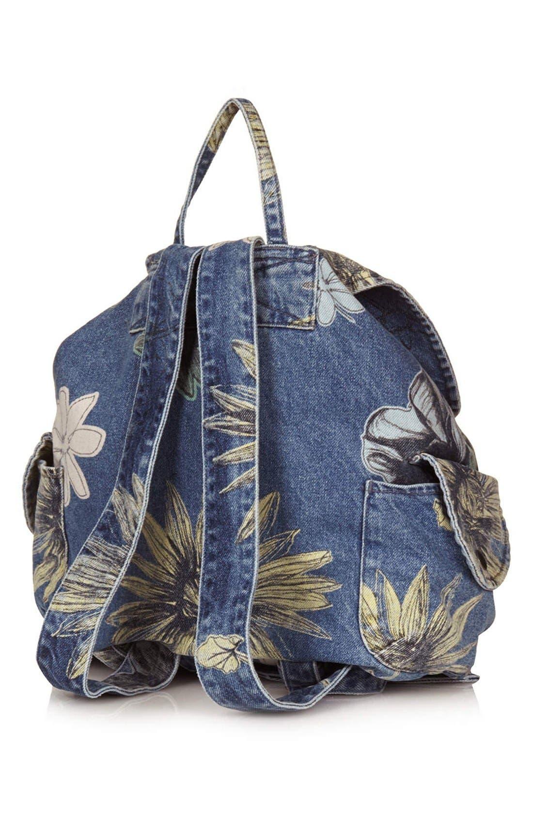 Alternate Image 4  - Topshop 'Mom' Floral Denim Backpack