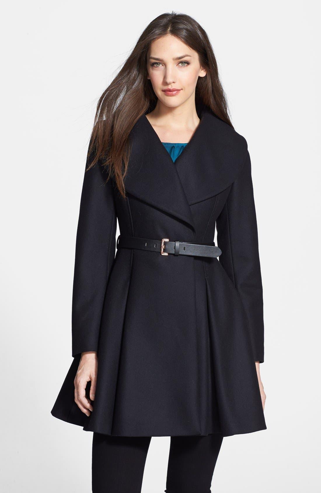 Main Image - Ted Baker London Belted Flare Skirt Wool & Cashmere Blend Coat