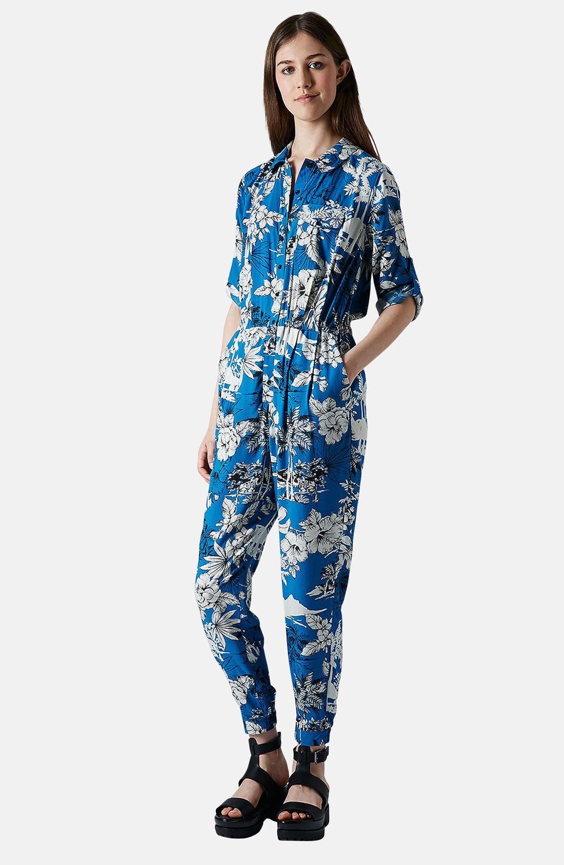 Alternate Image 1 Selected - Topshop Palm Print Jumpsuit