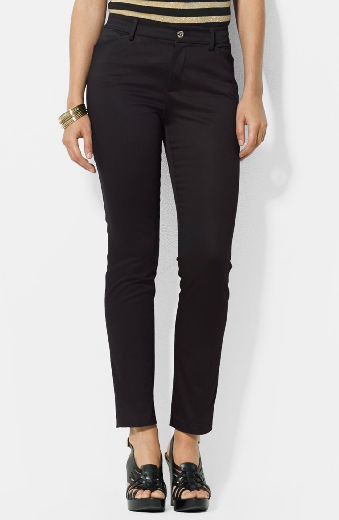 Main Image - Lauren Ralph Lauren Stretch Sateen Ankle Pants (Petite)