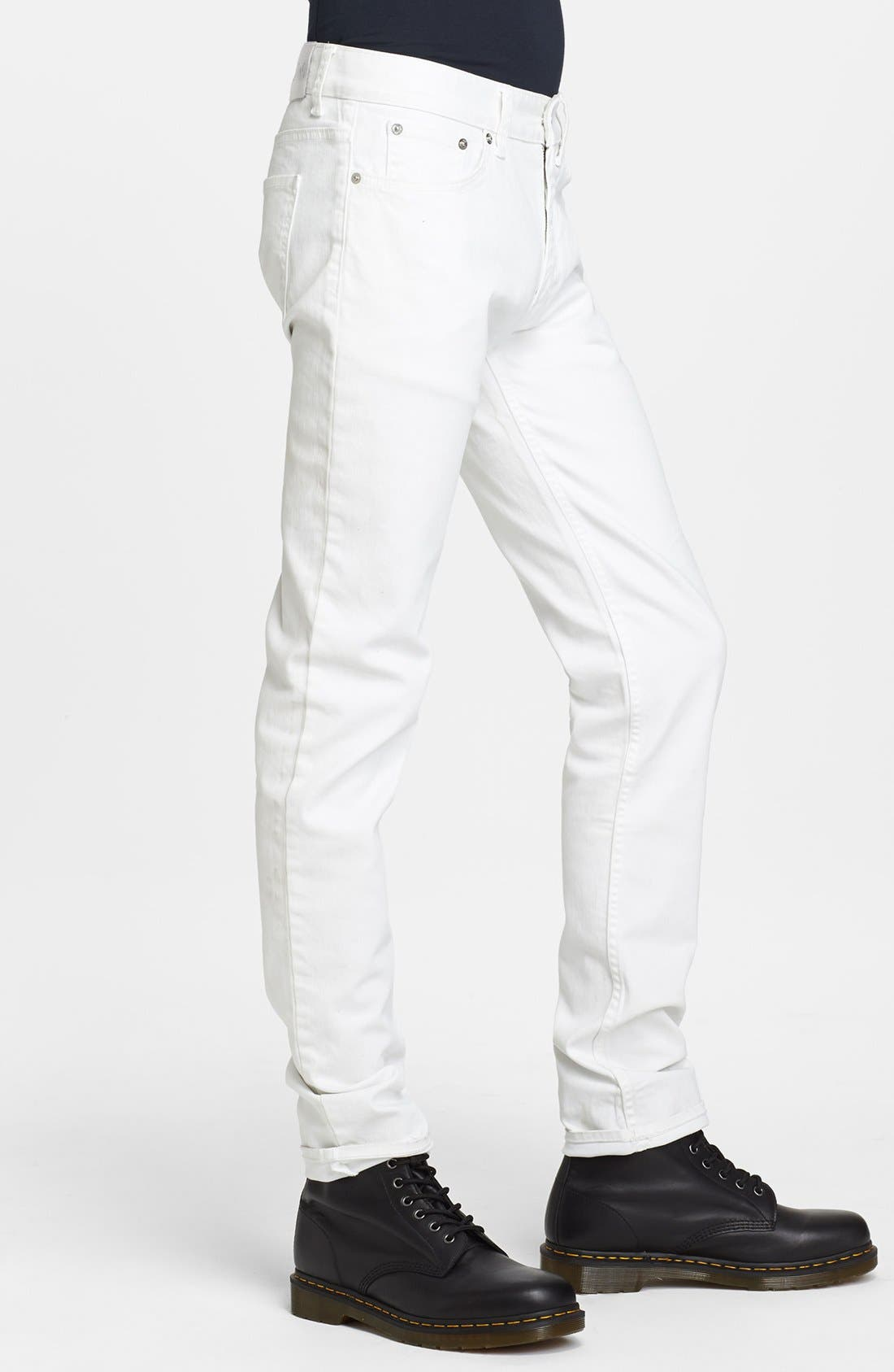 Alternate Image 3  - BLK DNM 'Jeans 5' Slim Straight Leg Coated Denim Jeans (Natural White)