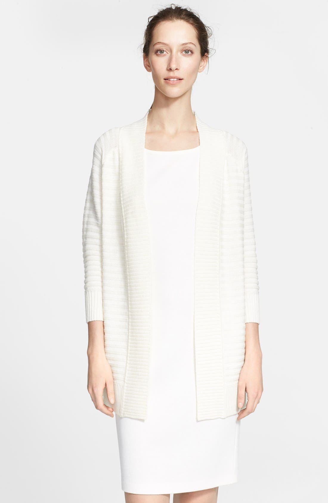 Main Image - St. John Collection Raised Stripe Knit Cardigan