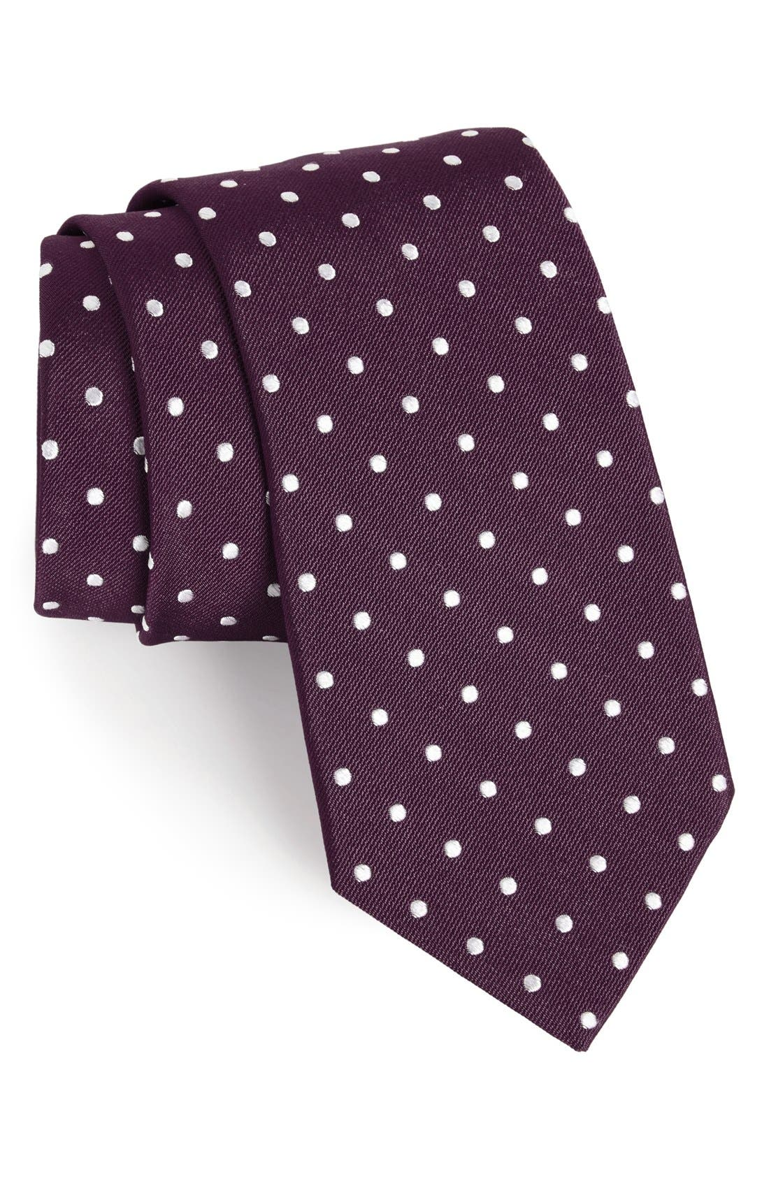 Polka Dot Silk Tie,                         Main,                         color, Dark Purple