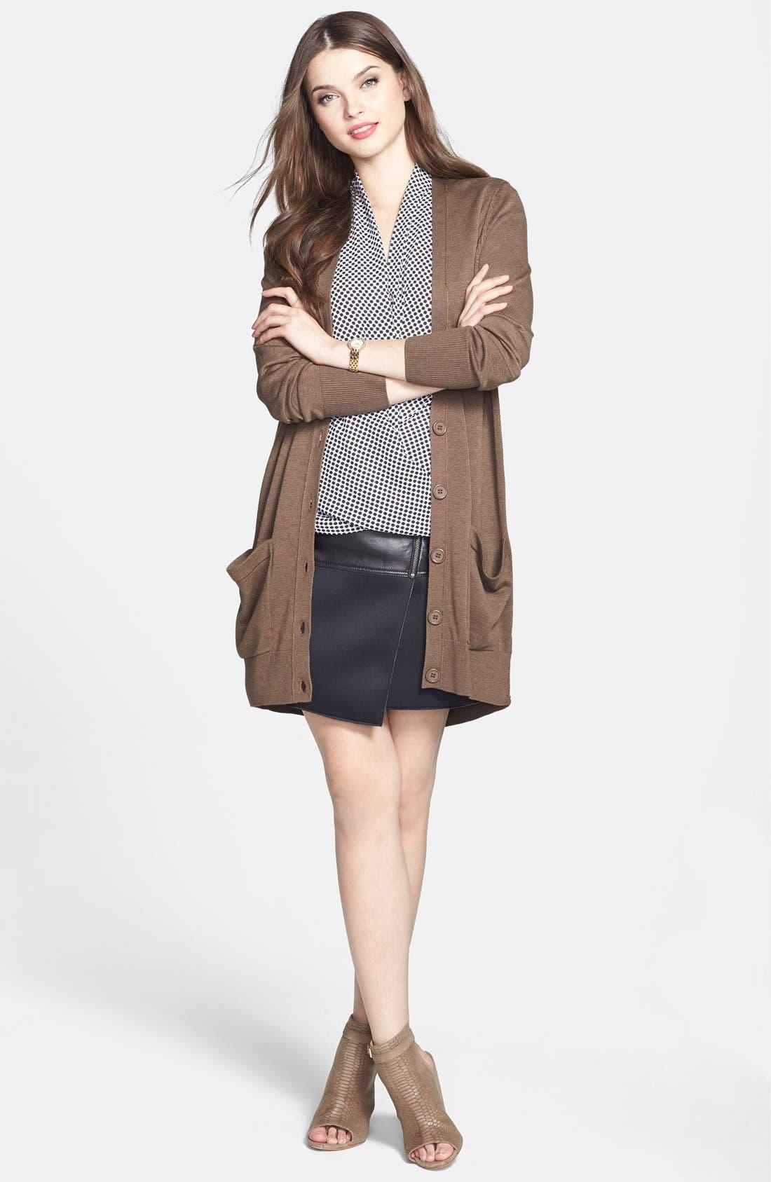 Alternate Image 5  - Halogen® Asymmetrical Zip Leather & Scuba Knit Skirt (Regular & Petite)