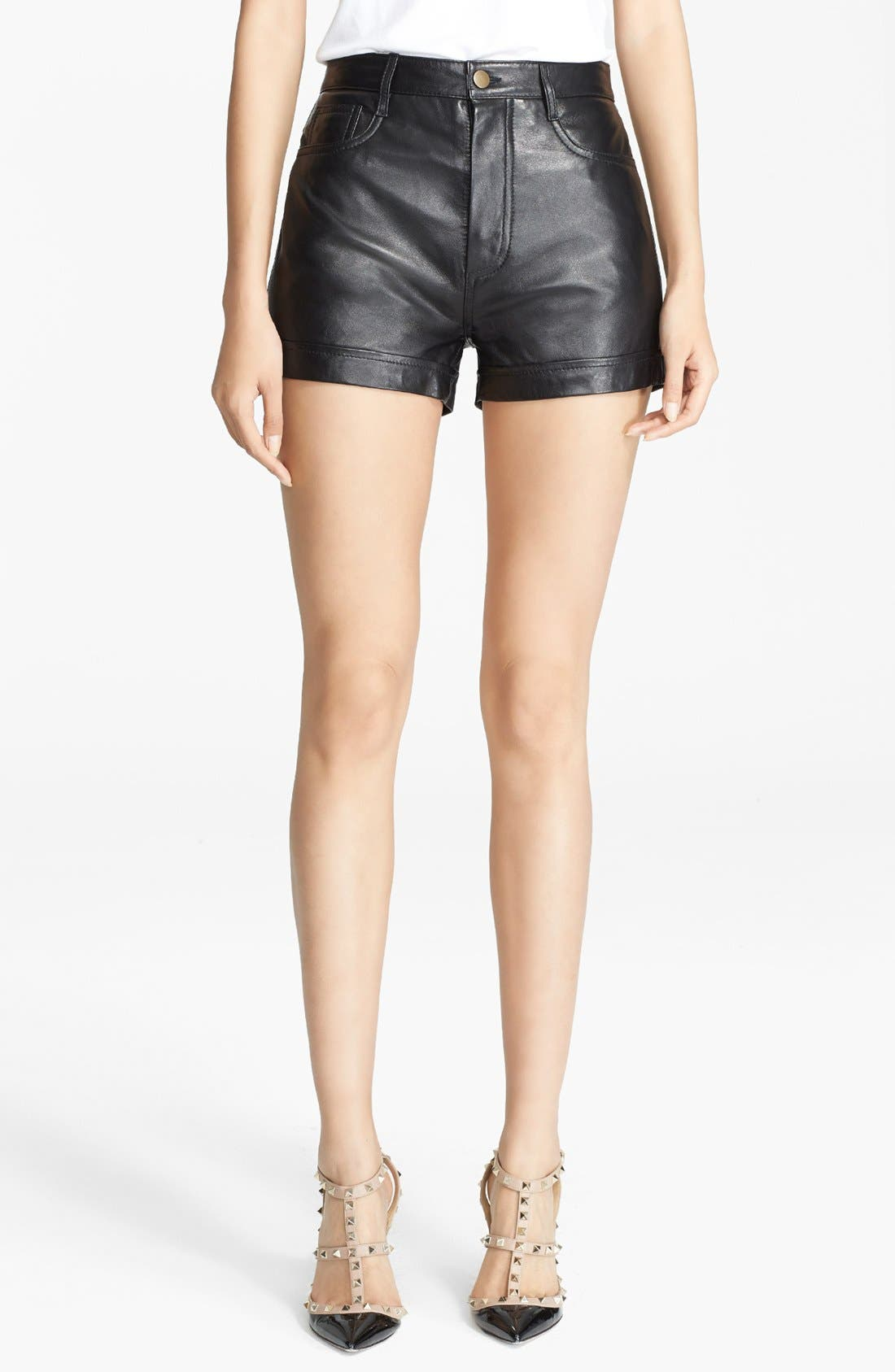 Alternate Image 1 Selected - RED Valentino Cuff Leather Shorts