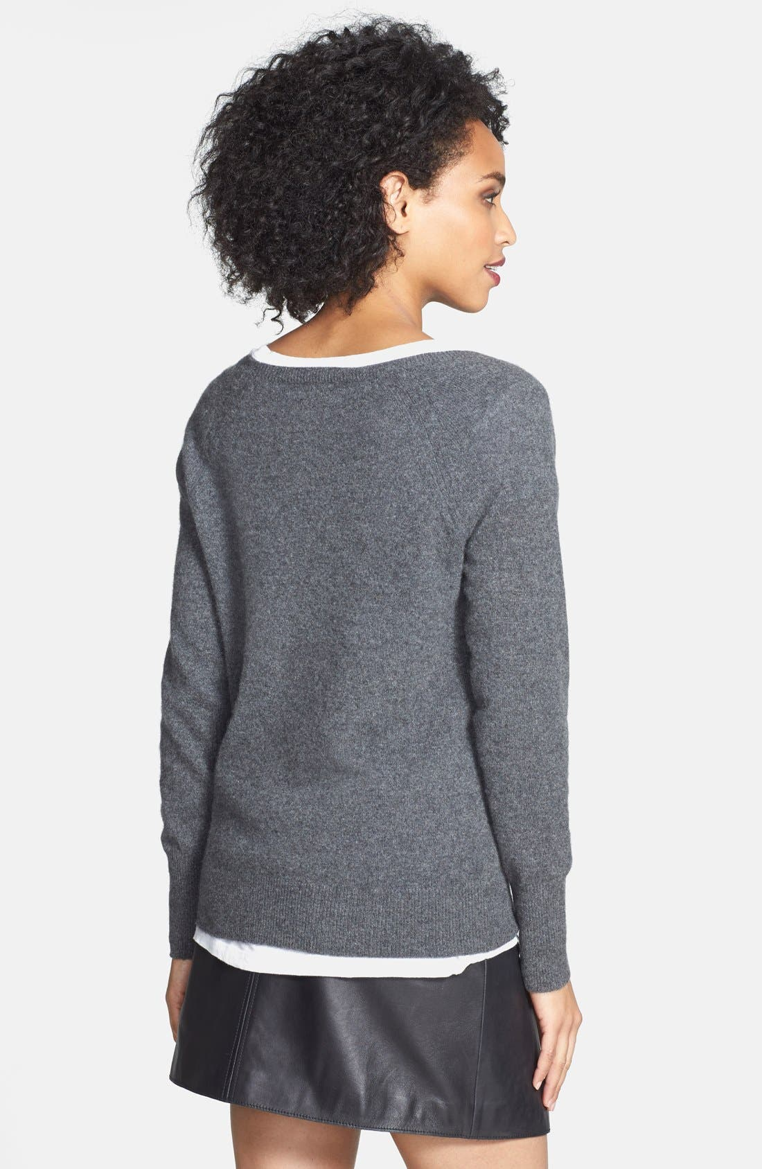 Embellished Neck Cashmere Sweater,                             Alternate thumbnail 2, color,                             Heather Charcoal
