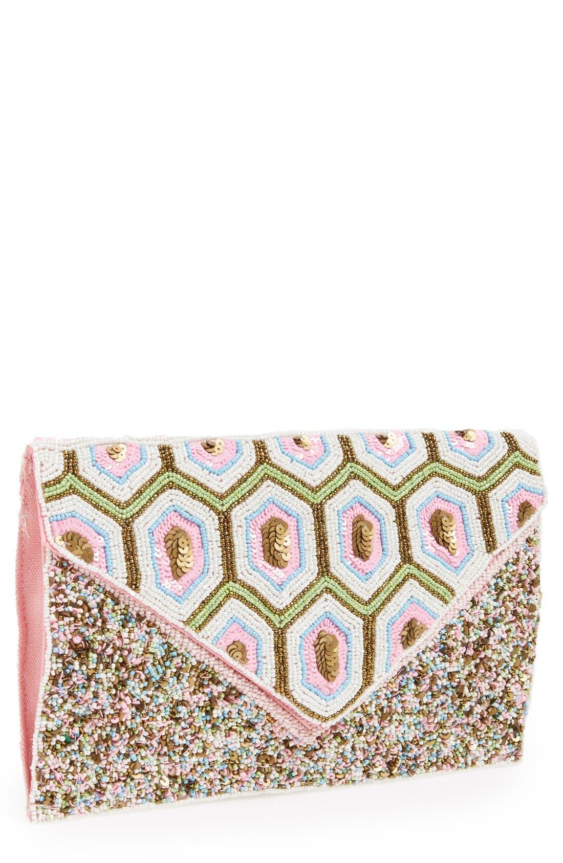 Geo Beaded Envelope Clutch,                             Main thumbnail 1, color,                             Pink Multi