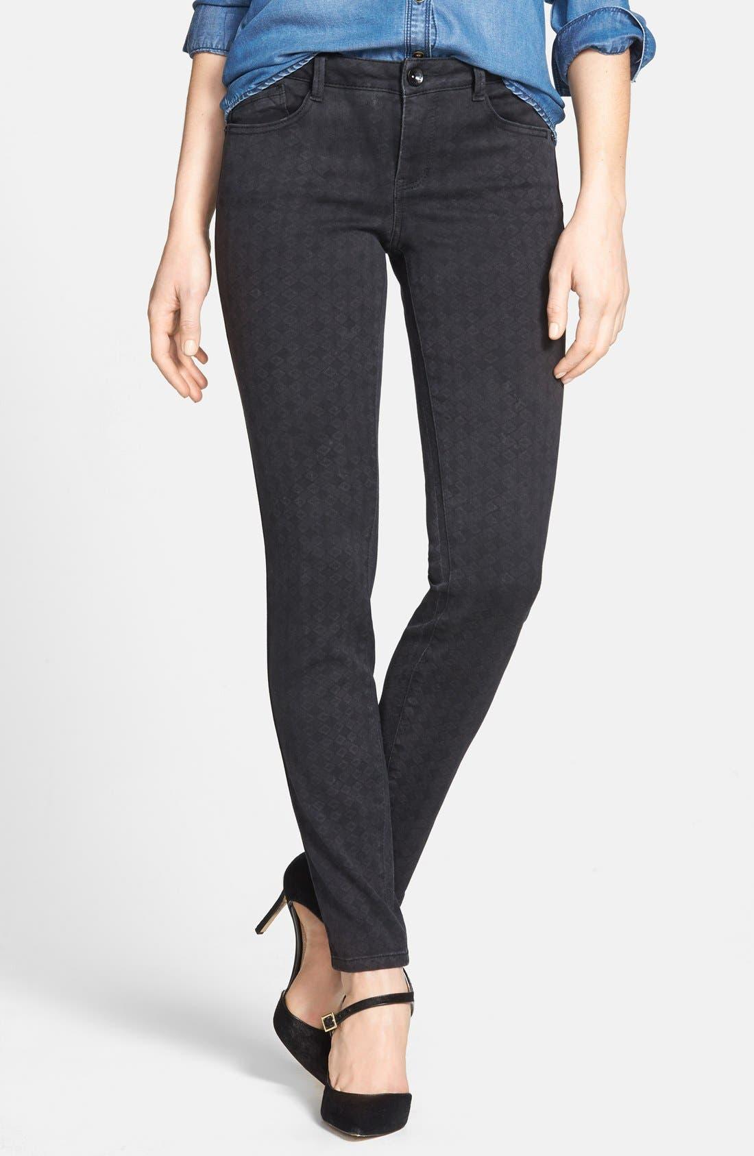 Alternate Image 1 Selected - Wit & Wisdom Diamond Stencil Skinny Jeans (Black) (Nordstrom Exclusive)