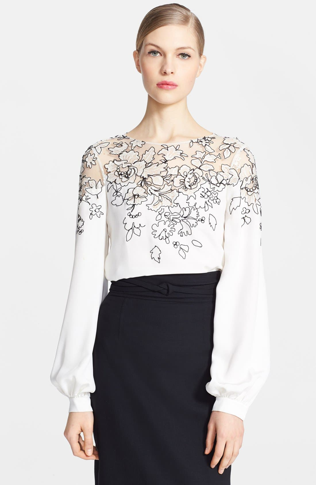 Embroidered Silk Blouse,                             Alternate thumbnail 3, color,                             Ivory