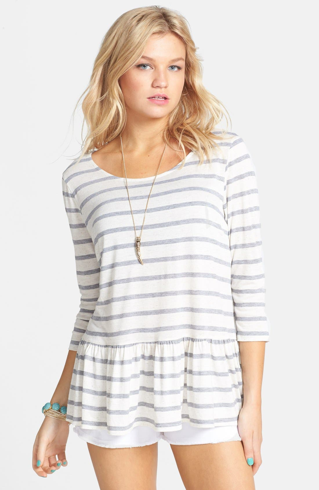 Alternate Image 1 Selected - Ten Sixty Sherman Stripe Peplum Pullover (Juniors)
