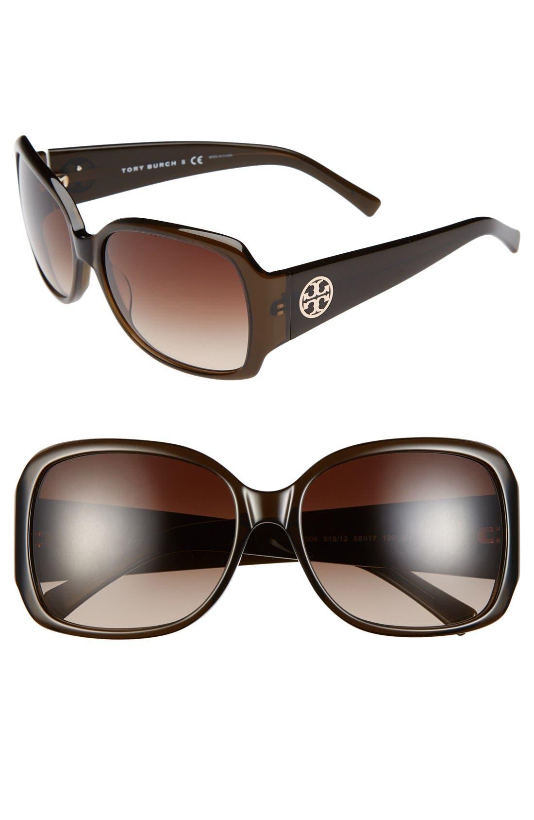Main Image - Tory Burch 58mm Oversized Square Sunglasses