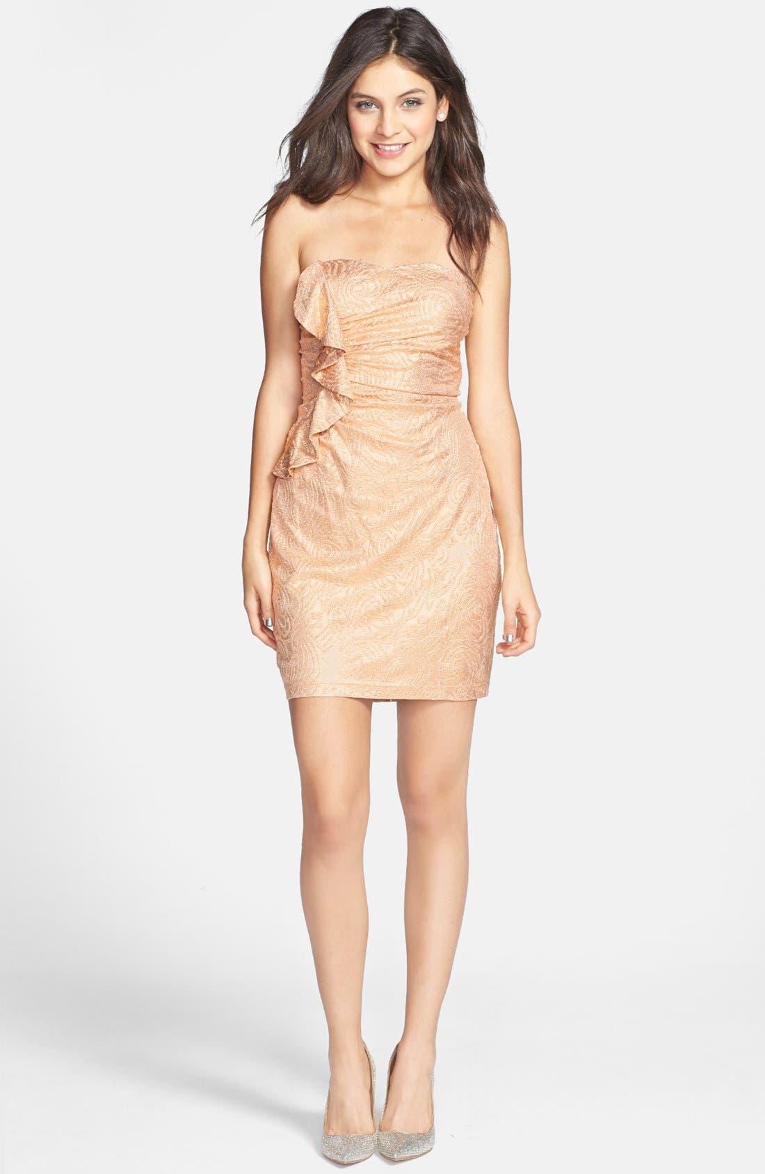 Main Image - Hailey Logan Ruffle Metallic Tube Dress (Juniors) (Online Only)