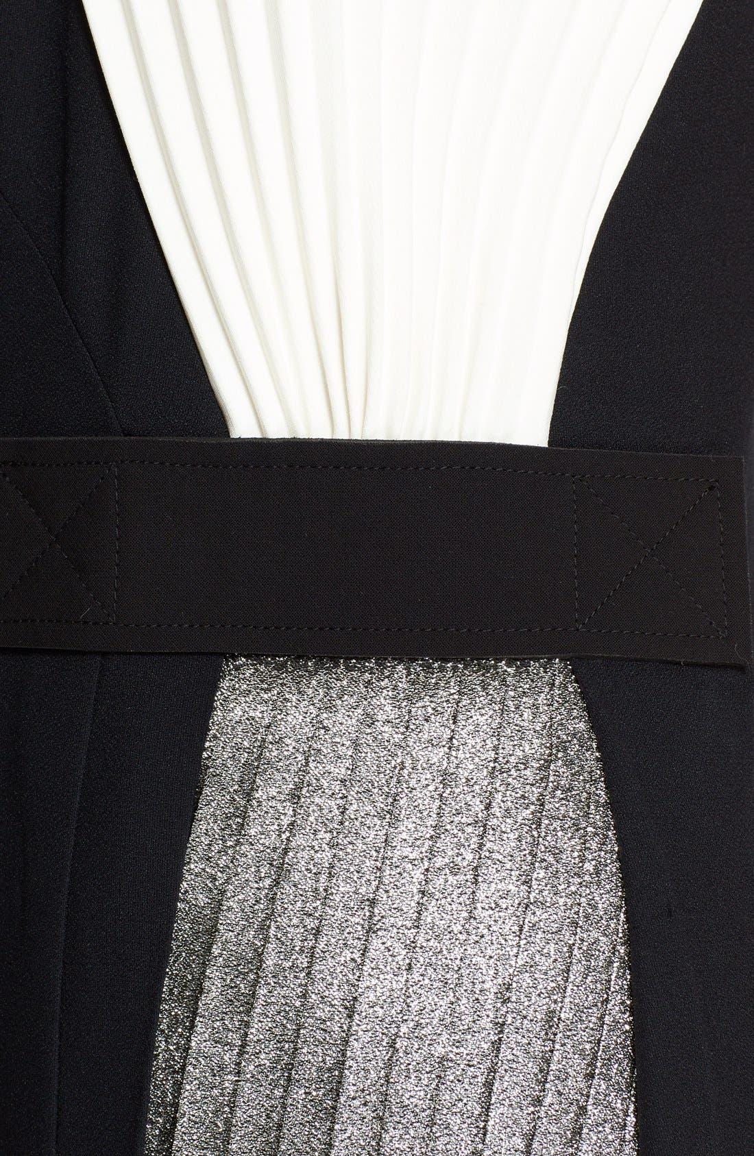 Alternate Image 3  - Cédric Charlier Pleated Crepe & Lamé Dress