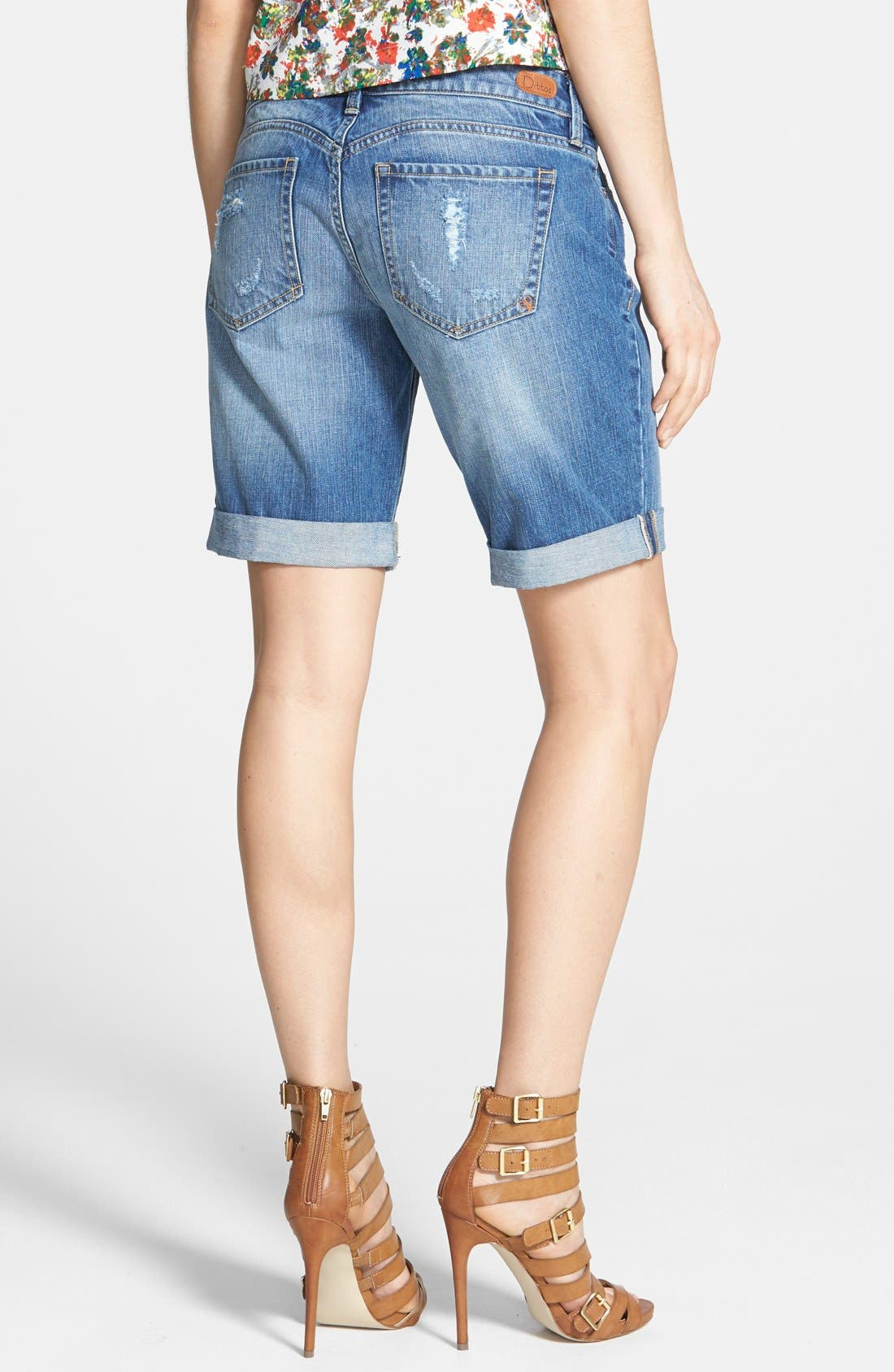 Alternate Image 2  - Dittos 'Avery' Destroyed Denim Bermuda Shorts (Medium Vintage)