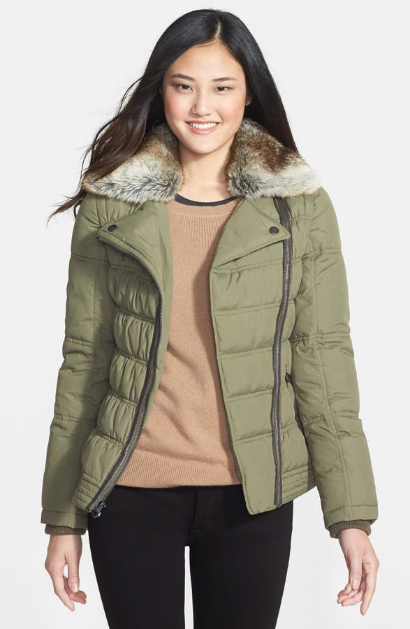 Laundry By Design Quilted Puffer Coat With Faux Fur Collar And Zip