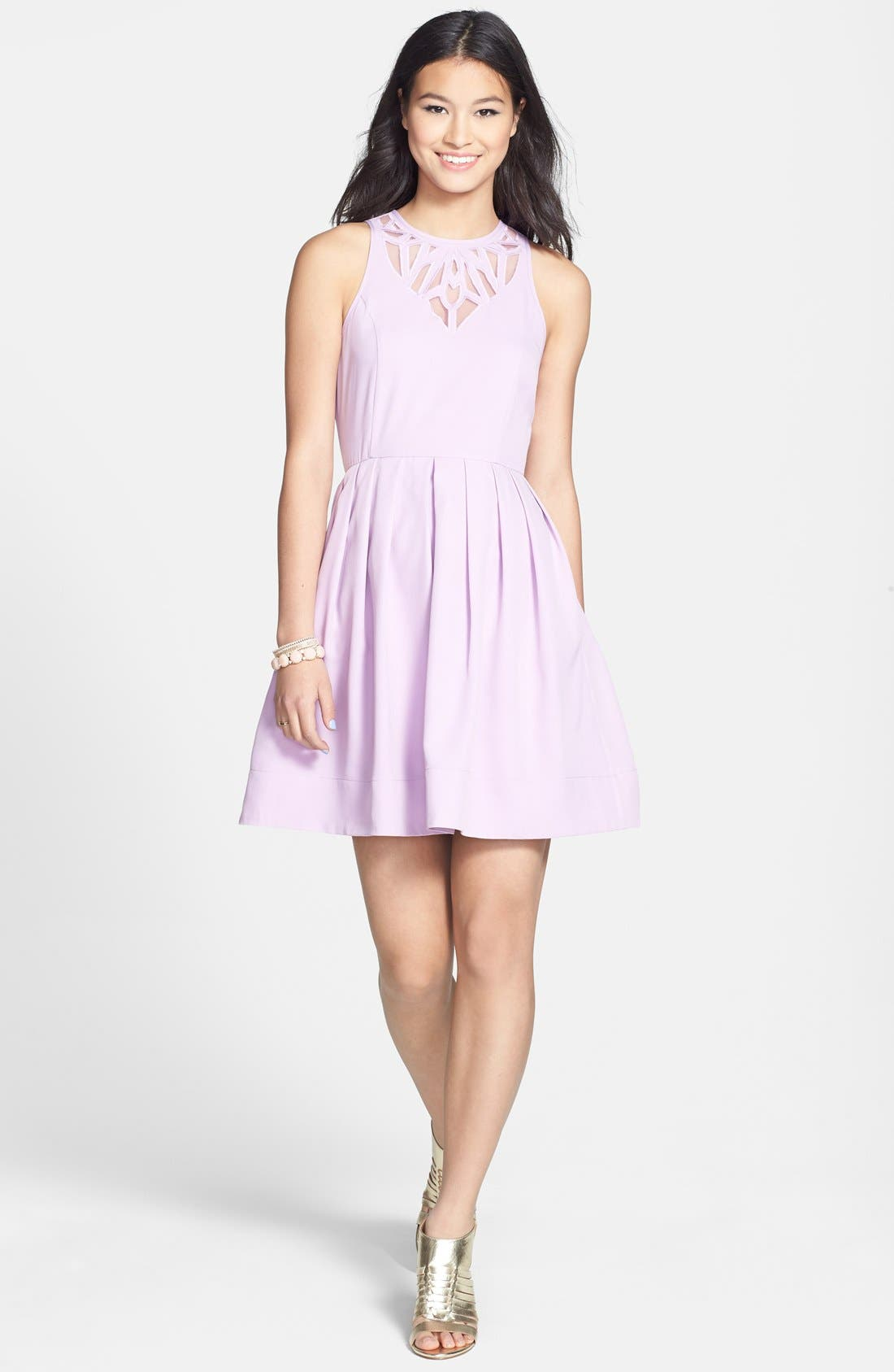 Main Image - Everly Mesh Yoke Fit & Flare Dress (Juniors) (Online Only)