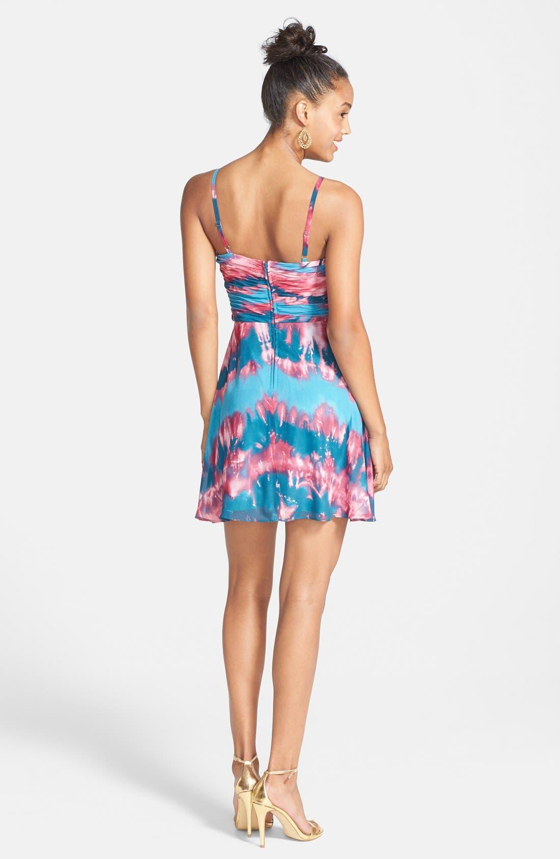 Alternate Image 2  - Hailey Logan Tie Dye Chiffon Skater Dress (Juniors)