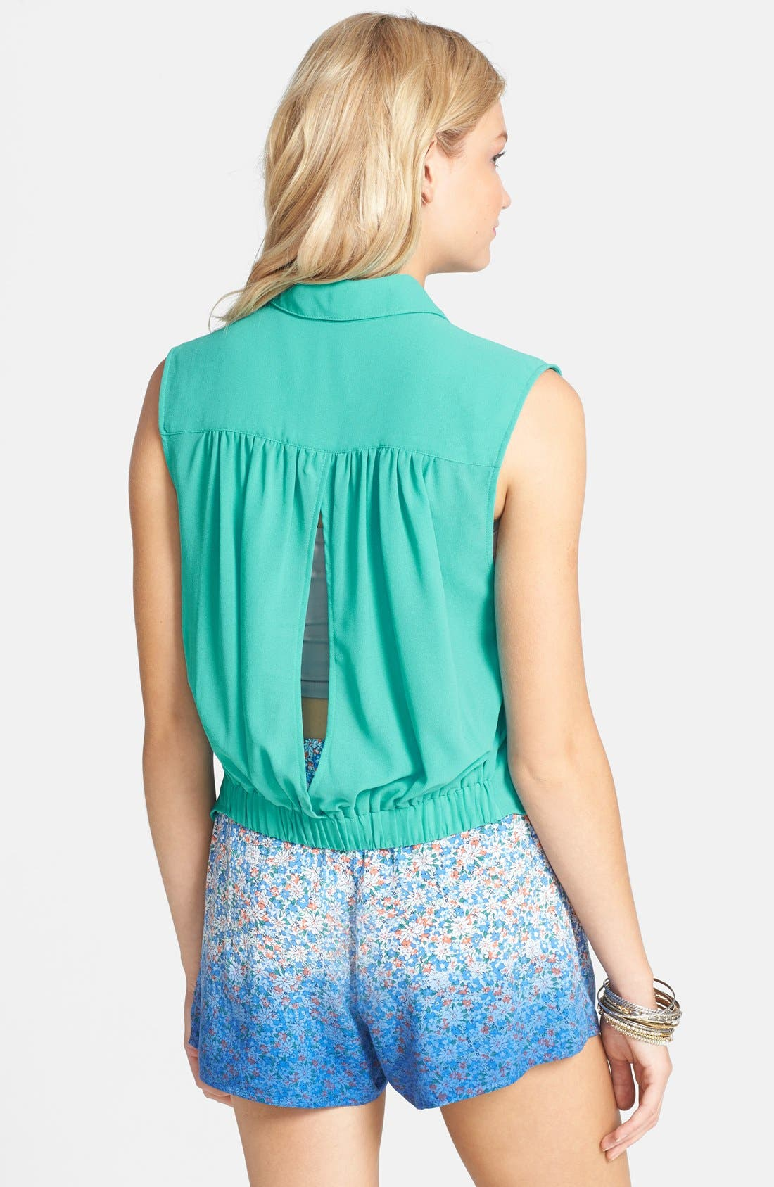 Alternate Image 2  - Lush Cutout Sleeveless Shirt (Juniors)