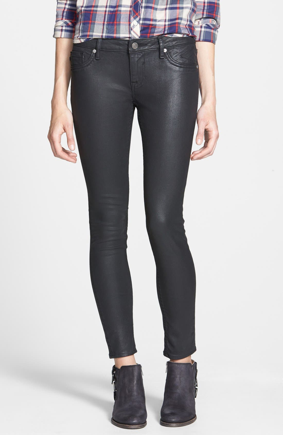Main Image - Vigoss Coated Skinny Jeans (Black)