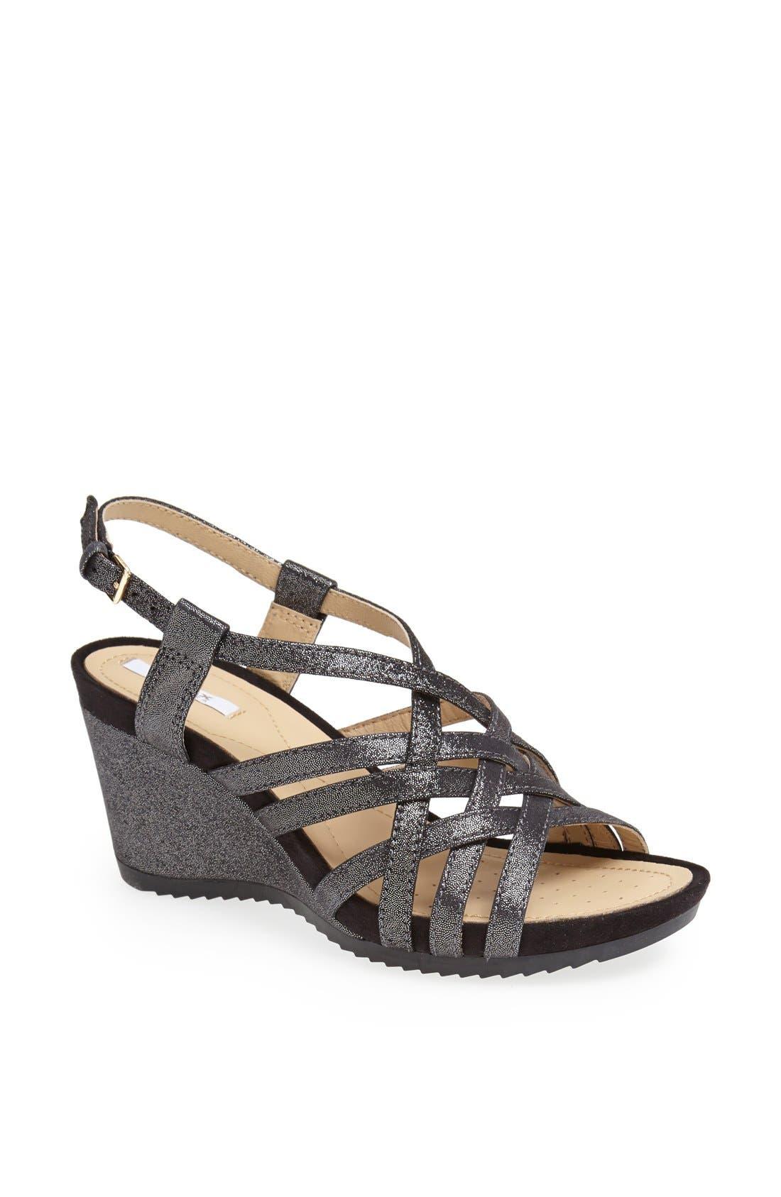 Alternate Image 1 Selected - Geox 'Roxy' Metallic Leather Sandal (Women)