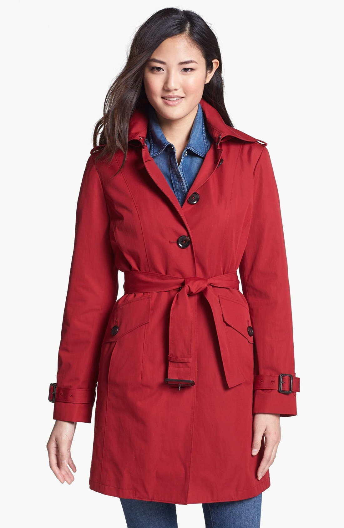 Main Image - MICHAEL Michael Kors Trench Coat with Detachable Hood (Regular & Petite) (Nordstrom Exclusive)