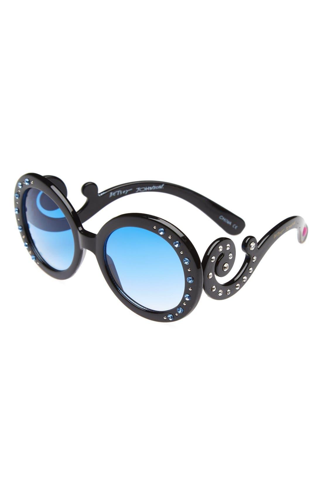 Alternate Image 1 Selected - Betsey Johnson Crystal Sunglasses (Girls)
