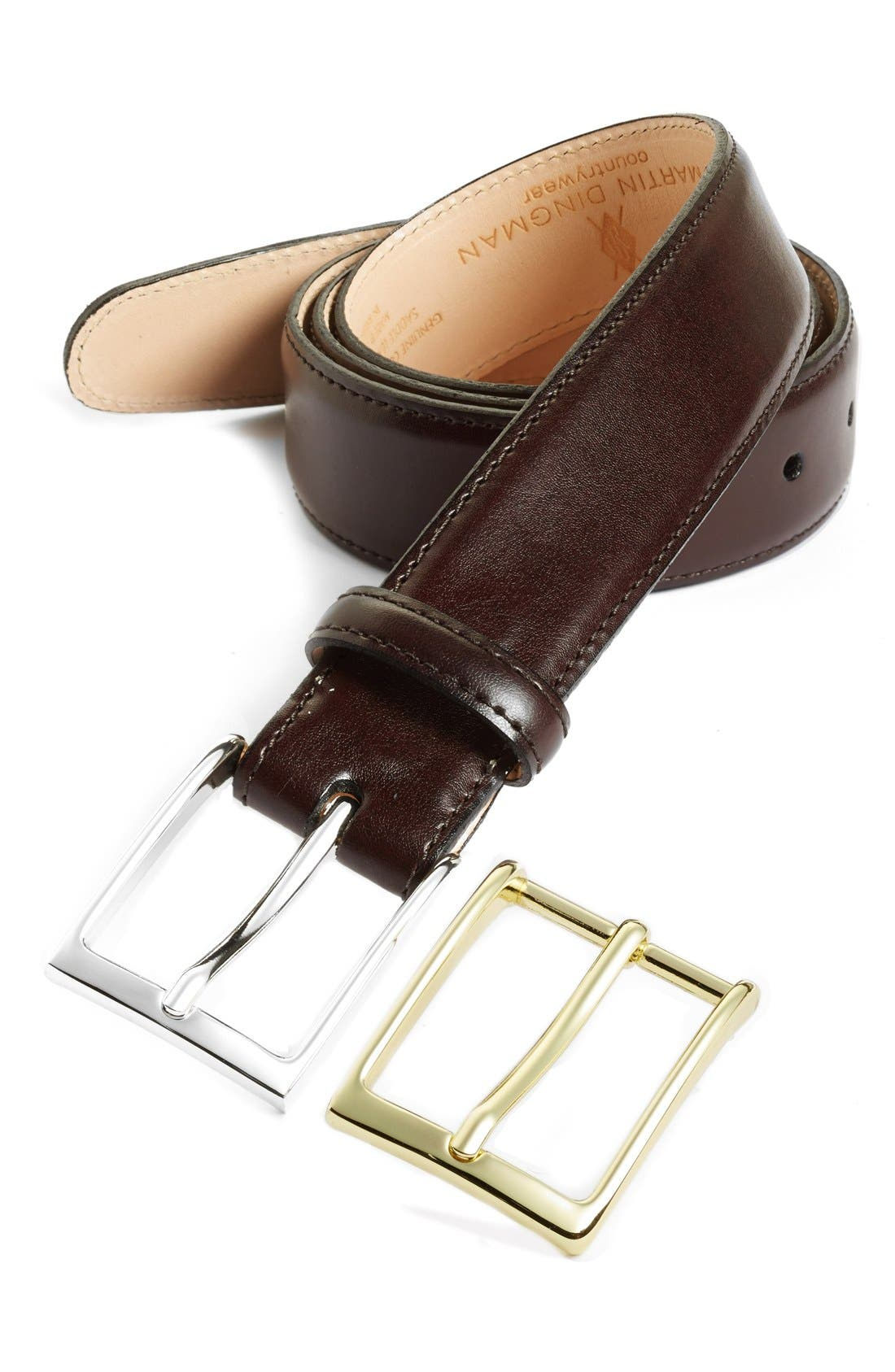 'Smith' Leather Belt,                         Main,                         color, Burgundy