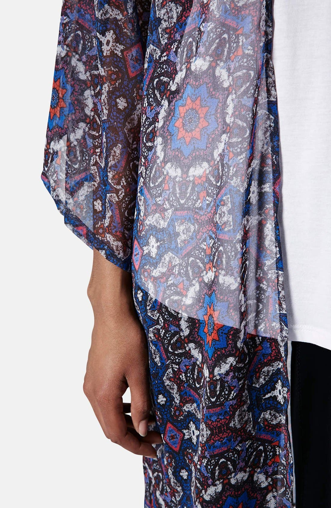 Kaleidoscope Print Kimono,                             Alternate thumbnail 4, color,                             Blue Multi