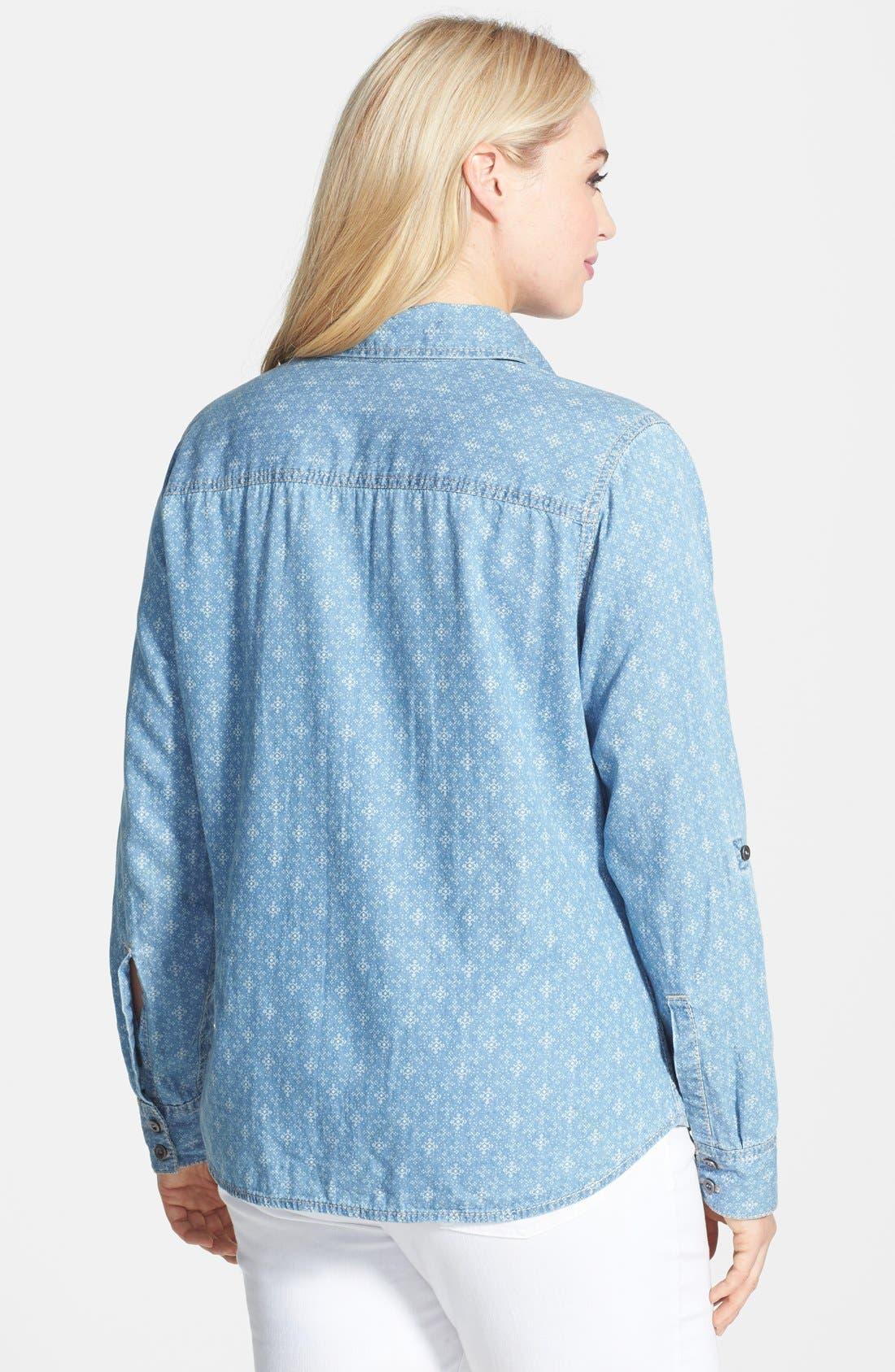 Alternate Image 2  - Seven7 Print Roll Sleeve Denim Shirt (Plus Size)