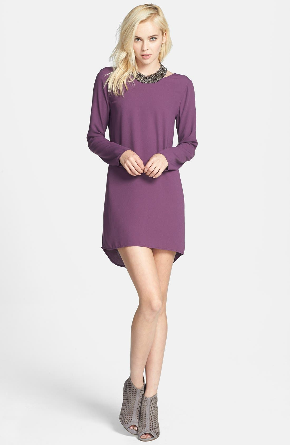 Main Image - Tildon Scoop Back High/Low Shift Dress