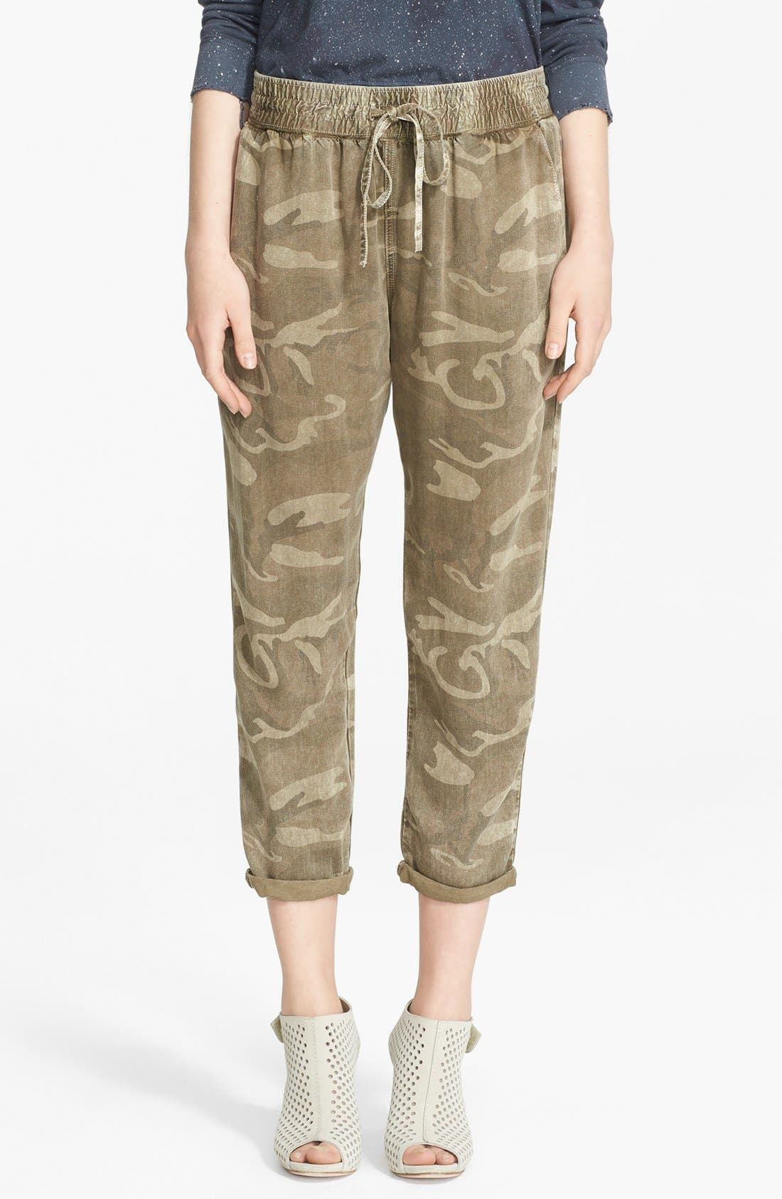 Main Image - Current/Elliott Camo Print Drawstring Trousers