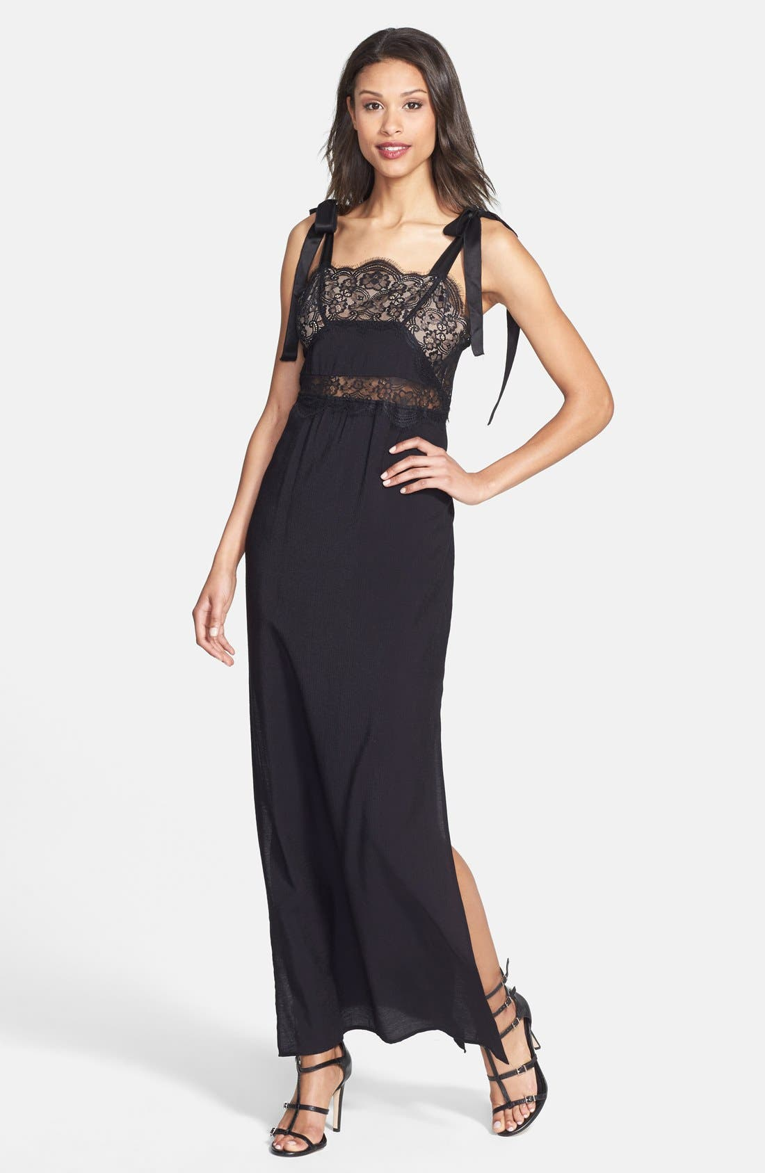 Main Image - For Love & Lemons 'Sweet Tea' Lace Trim Crepe Maxi Dress