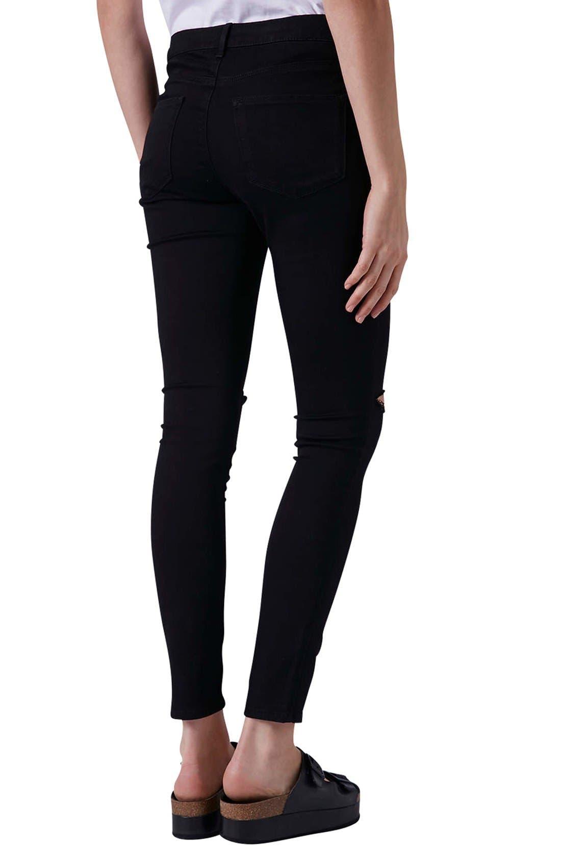 Alternate Image 2  - Topshop Moto 'Leigh' Ripped Maternity Jeans (Black) (Regular, Short & Long)