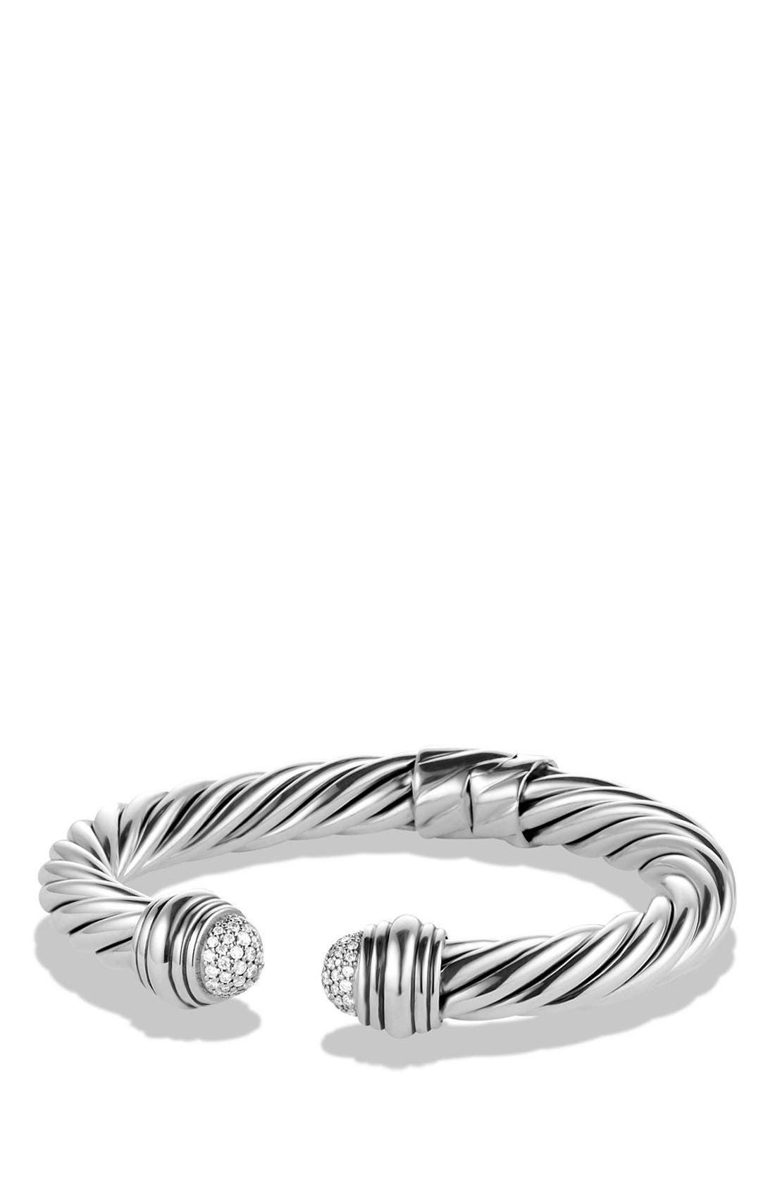 Cable Classics Pavé Tip Bracelet with Diamonds, 8.5mm,                         Main,                         color, Diamond