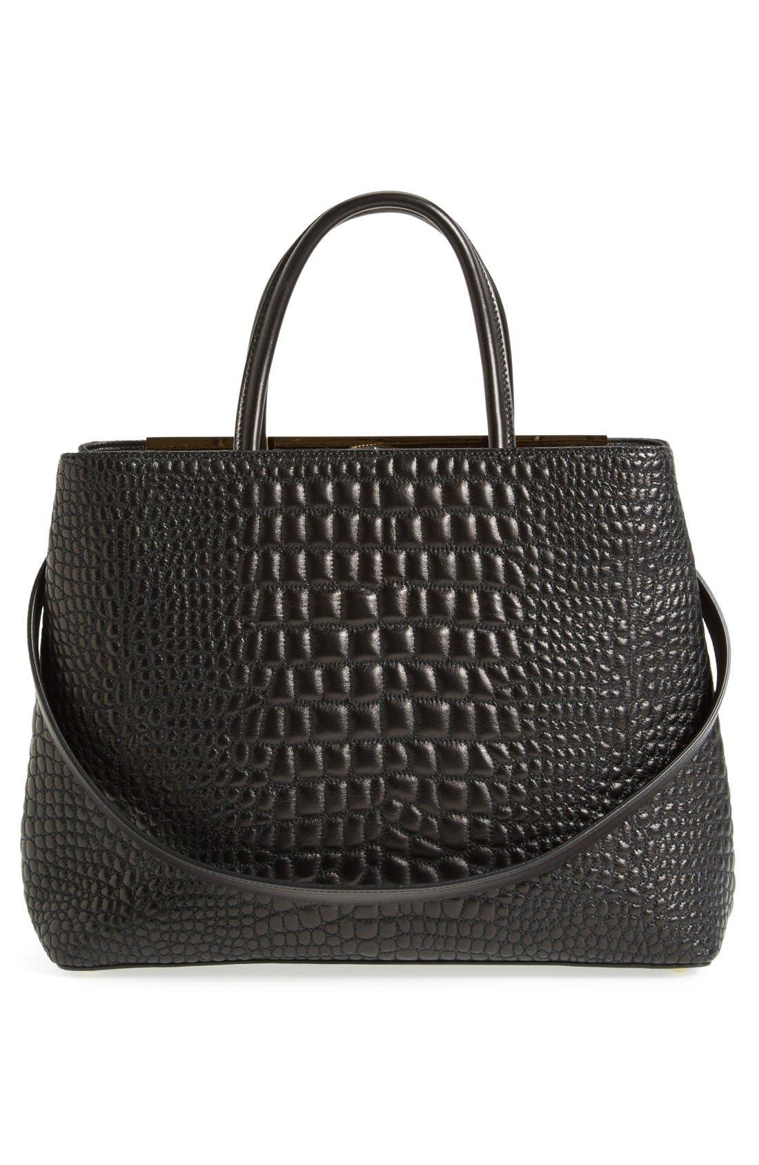 Alternate Image 3  - Fendi 'Medium 2Jours' Croc Embroidered Leather Shopper