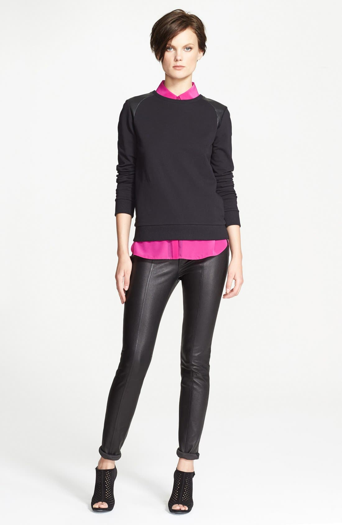 Alternate Image 1 Selected - Vince Faux Leather Shoulder Trim Sweatshirt
