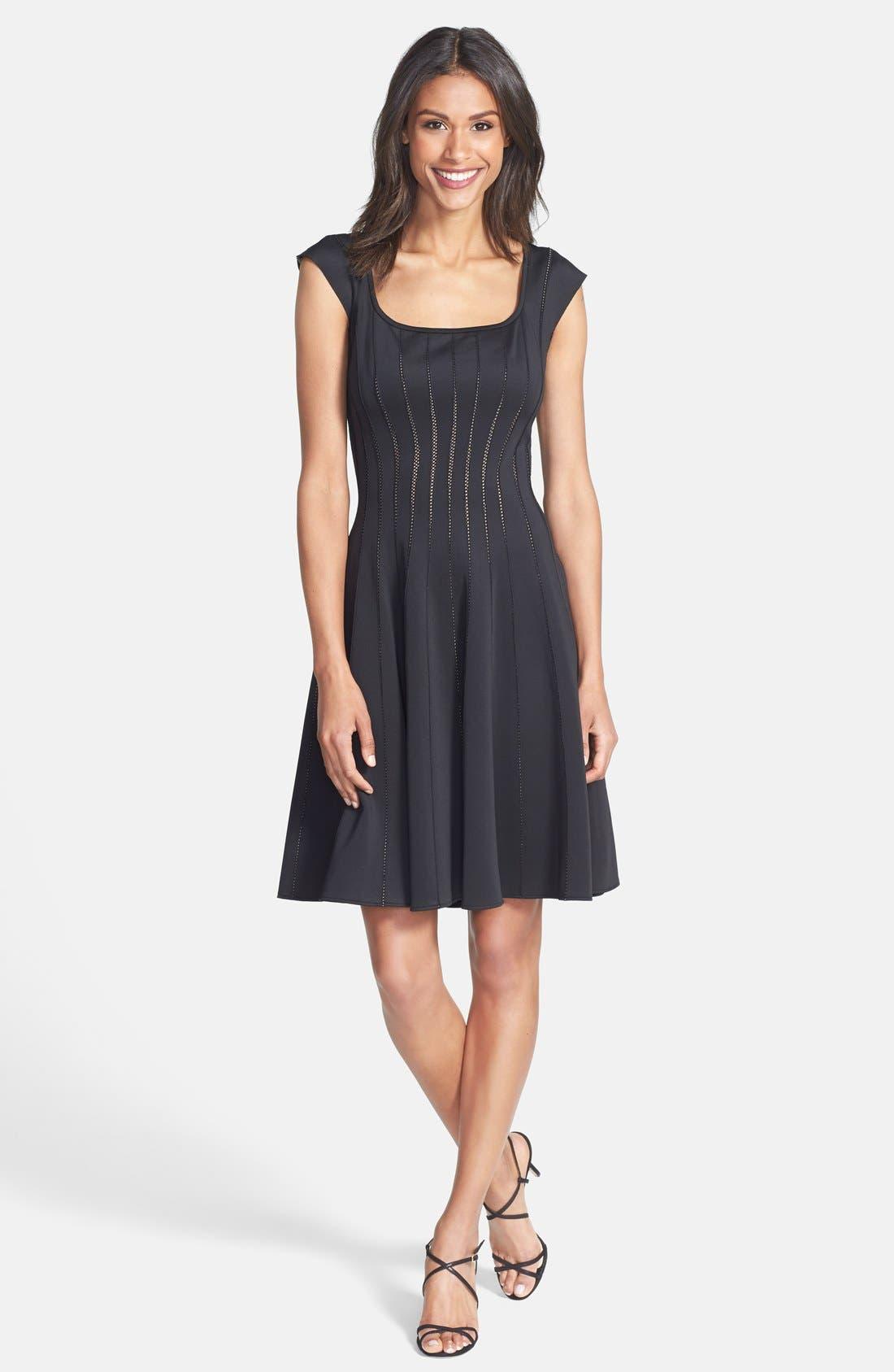 Alternate Image 3  - Tadashi Shoji Mesh Detail Knit Fit & Flare Dress
