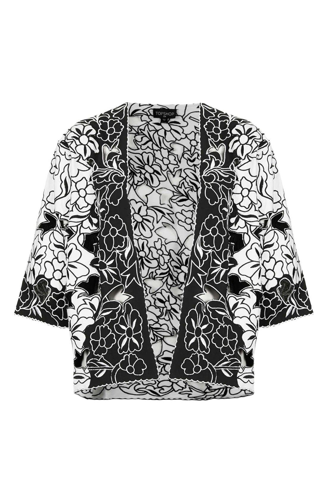 Alternate Image 3  - Topshop Cutout Embroidered Kimono Jacket