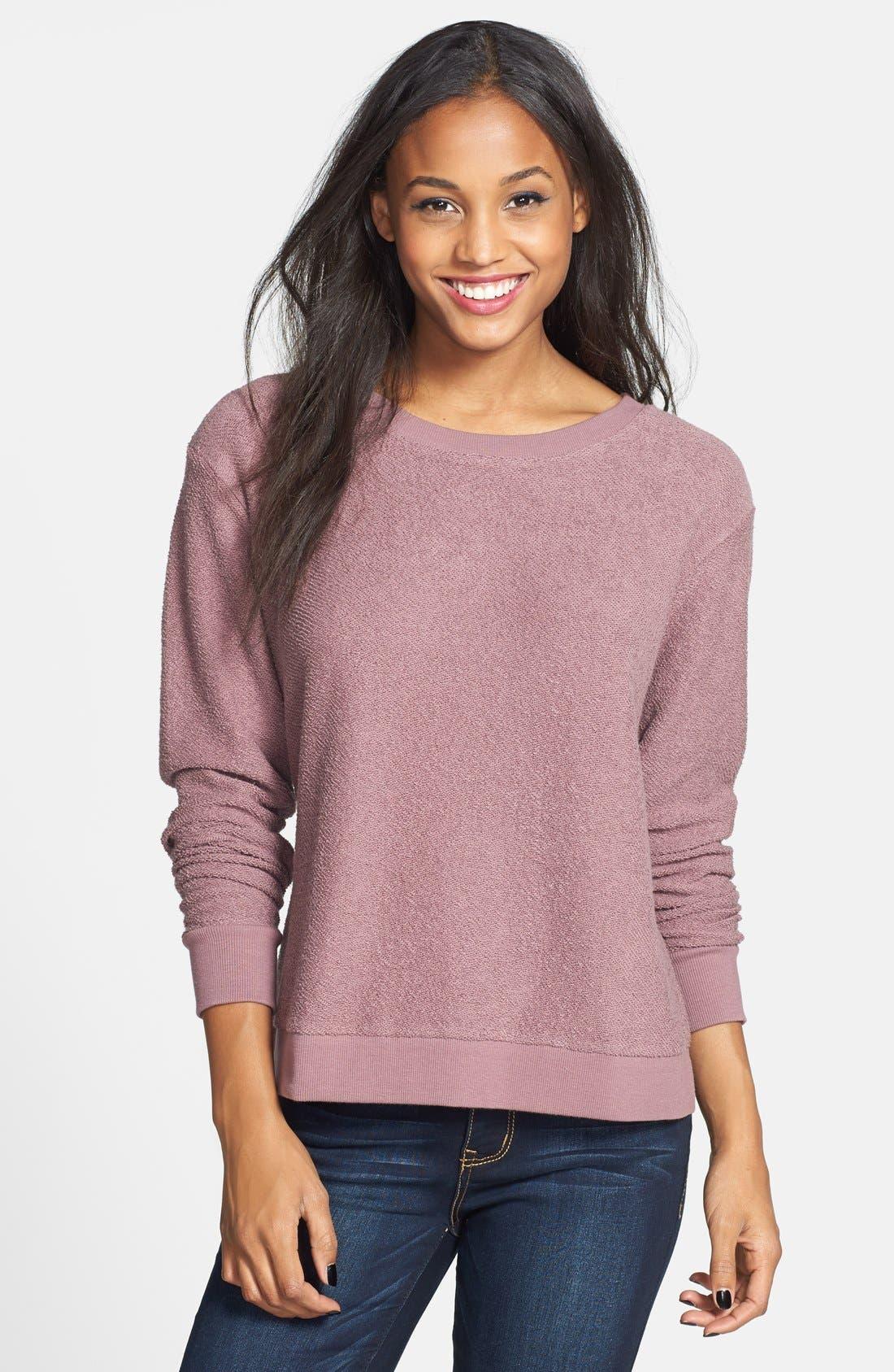 Main Image - BP. Side Slit Knit Sweatshirt (Juniors)