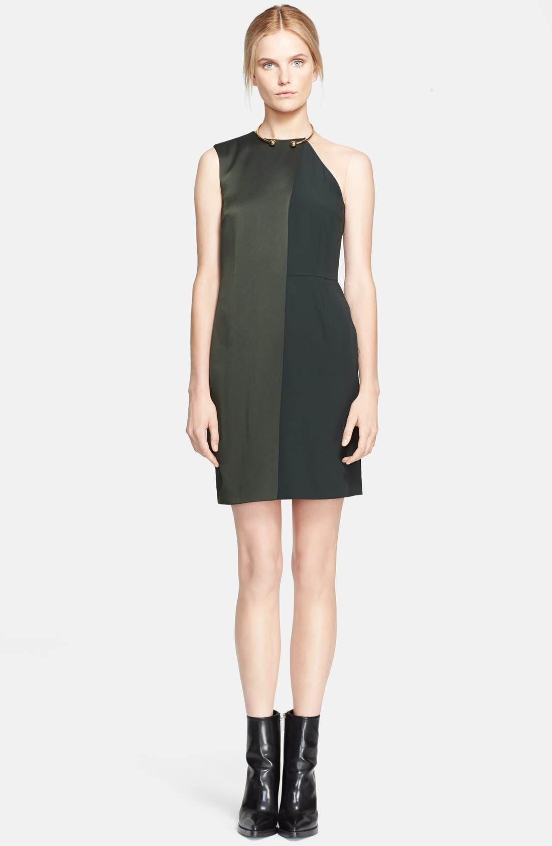 Main Image - Stella McCartney Sable Crepe & Satin Dress with Neck Hardware