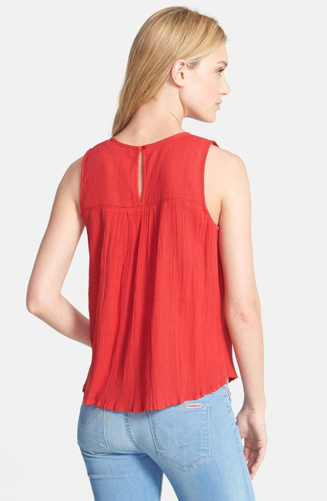 Alternate Image 2  - Lucky Brand Embroidered Woven Tank