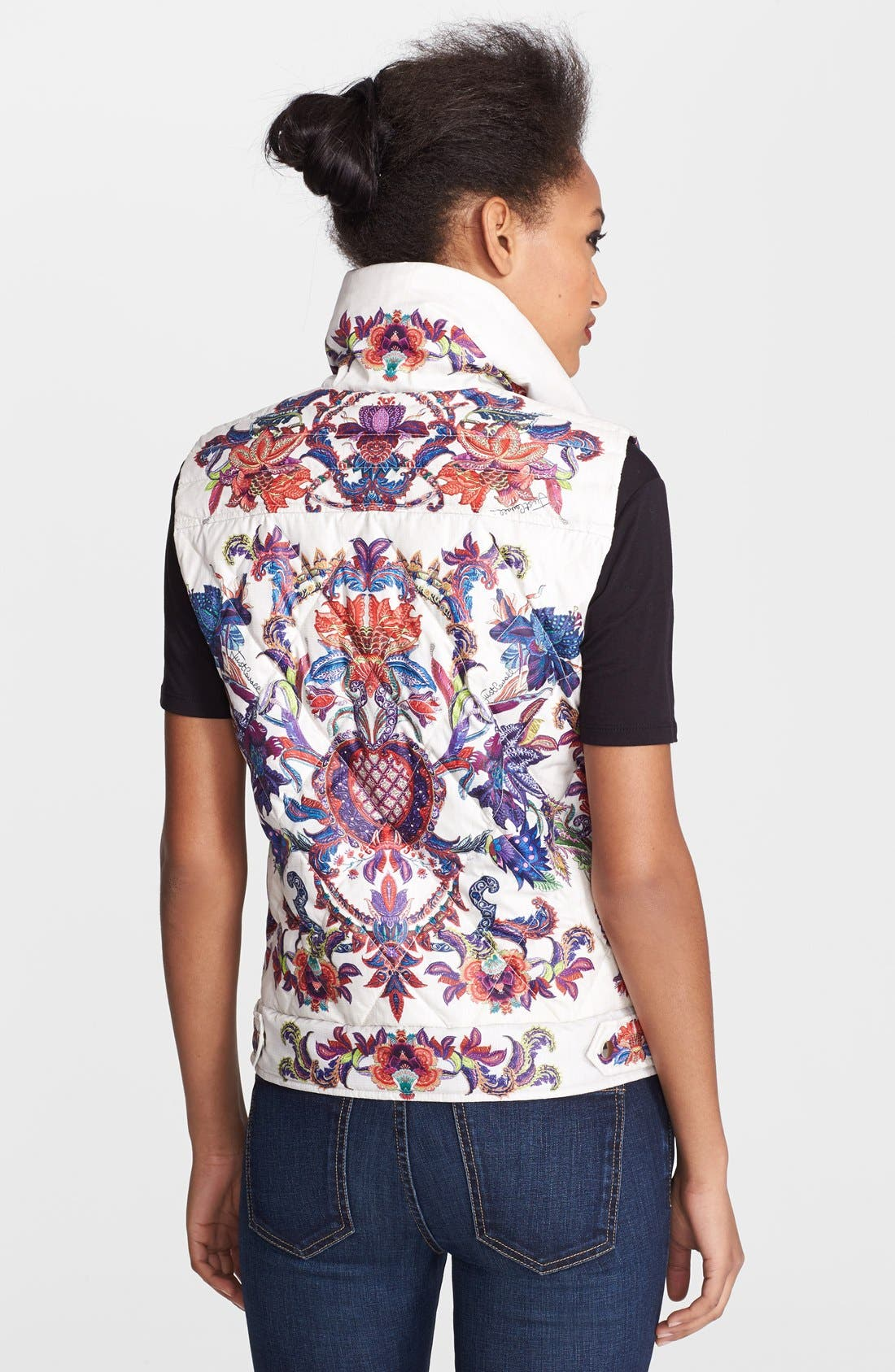 Floral Print Down Puffer Vest,                             Alternate thumbnail 2, color,                             White Variant