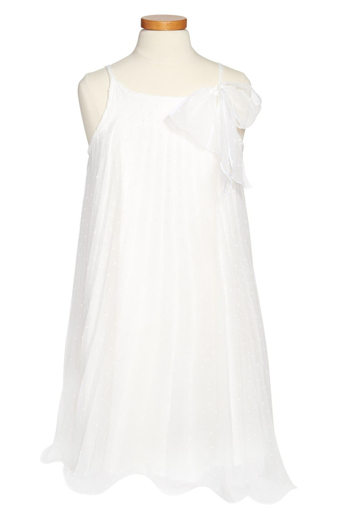 Main Image - Zunie Swiss Dot A-Line Dress (Big Girls)