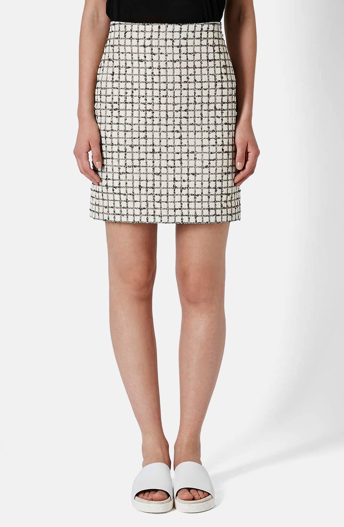 Alternate Image 1 Selected - Topshop Boutique Textured Grid Pencil Skirt