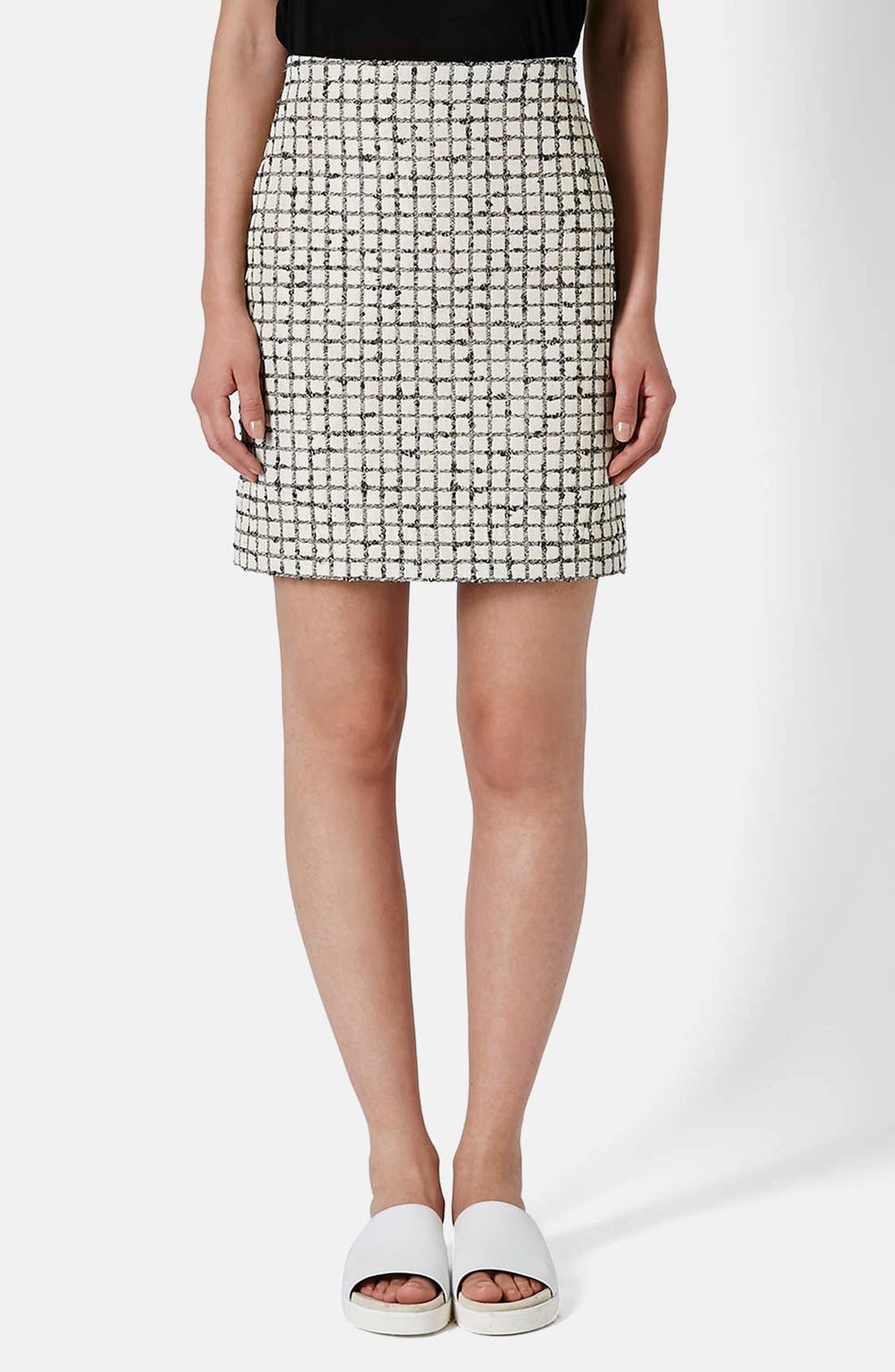 Main Image - Topshop Boutique Textured Grid Pencil Skirt