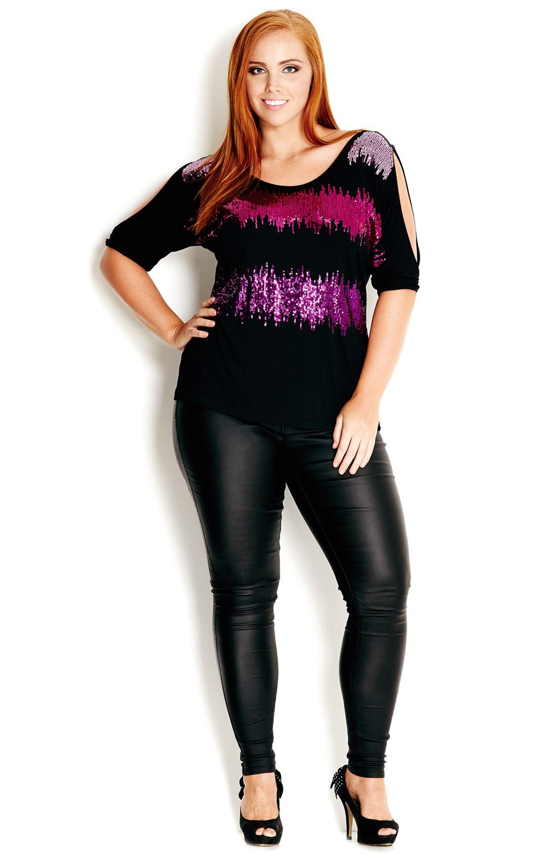 Alternate Image 1 Selected - City Chic 'Soundwave' Sequin Front Top (Plus Size)