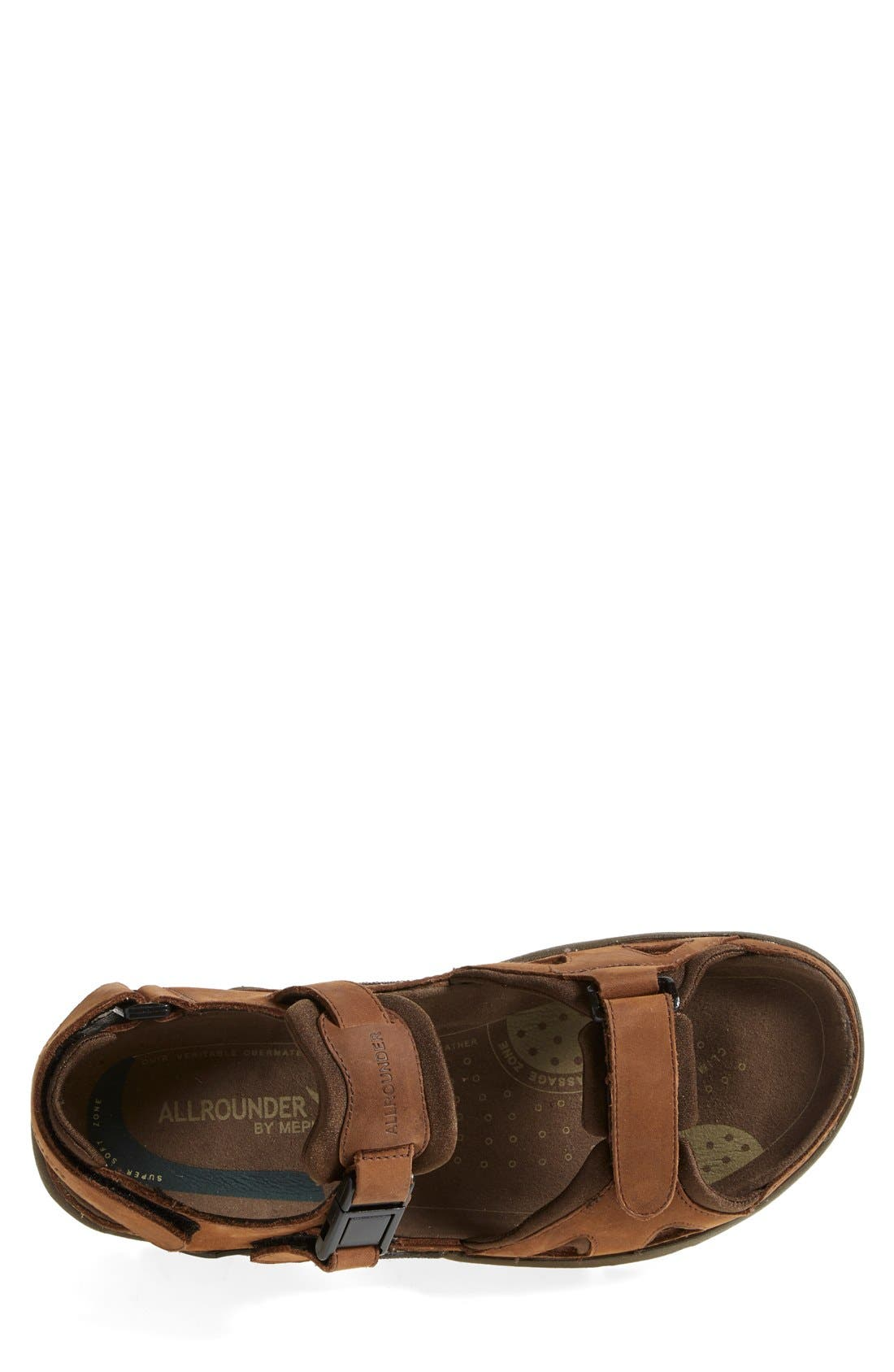 Allrounder by Mephisto 'Alligator' Sandal,                             Alternate thumbnail 3, color,                             Brown